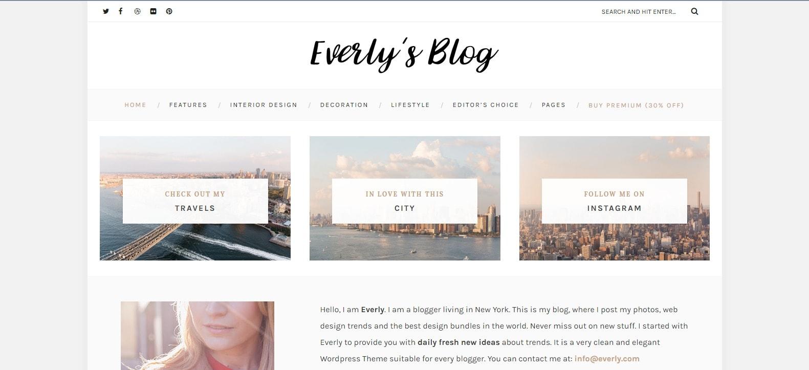 Za fashion bloggerke koje žele pun ugođaj tu je i Premium verzija Everly teme