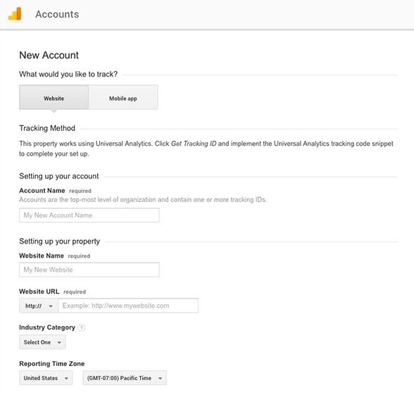 Google Analytics - Drugi korak u kreiranju naloga