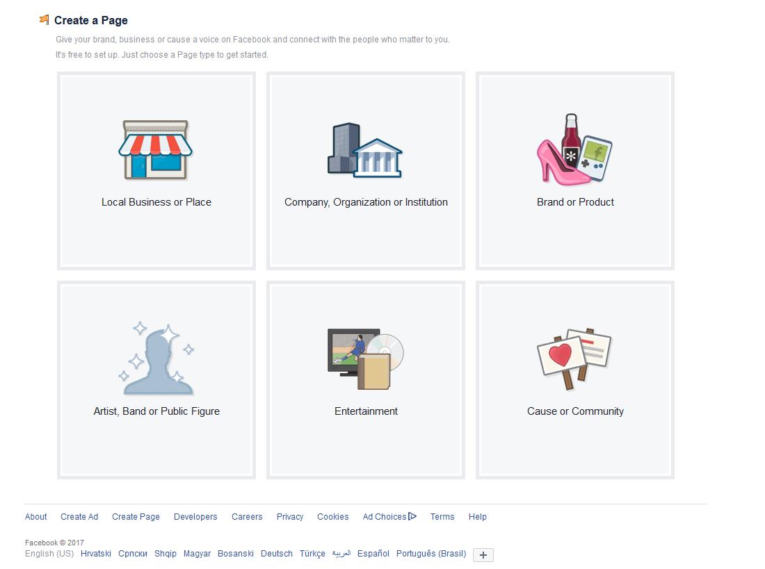 Odabir kategorija za Facebook stranicu