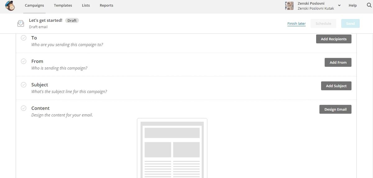 mailchimp-kreiranje kampanje-ženski poslovni kutak